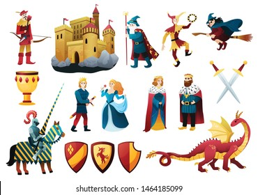 Medieval tale characters flat colorful set with castle fortress king queen dragon jester knight weapon vector illustration