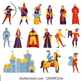 Medieval tales characters flat set with archer blacksmith king queen horn blower bishop warrior knight castle vector illustration