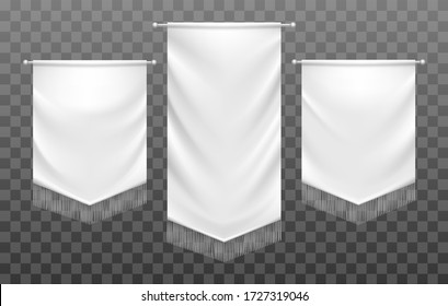 Medieval textile banners. Spire shapes white satin fabric presentation banner flags with fringe, hanging pennant signage templates isolated on transparent background