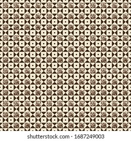 Medieval tile pattern with a combination a ivory and dark brown