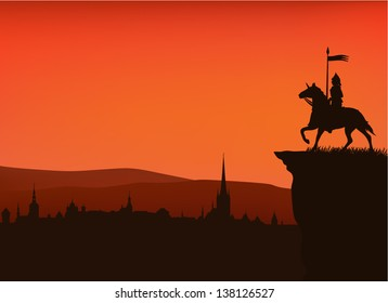 medieval times town sunset silhouette with a knight on the cliff