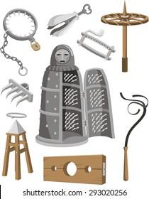 Medieval Torture Tools Set vector cartoon illustration