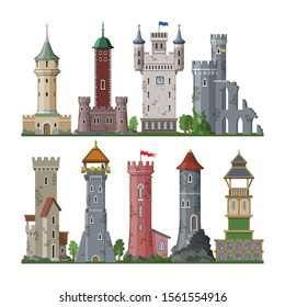 Medieval tower vector cartoon castle fairytale of fantasy palace building in kingdom fairyland illustration set of historical fairy-tale house isolated on white background.
