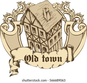 Medieval town. Engraved style. Vector illustration