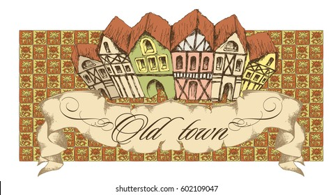 Medieval town. Vector illustration
