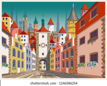 Medieval urban landscape. Handmade drawing vector illustration. All buildings - customizable different objects. Can be used for posters, banners, postcards, books & etc.