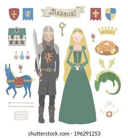 Medieval vector Illustrations set