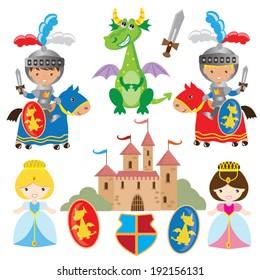 Medieval vector knights illustration