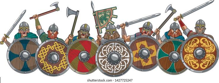 Medieval viking warrior shield wall