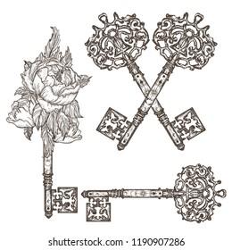 Medieval vintage keys collection. Hand drawn old keys vector design template