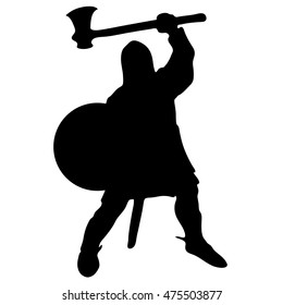 Medieval warrior knight with axe vector silhouette