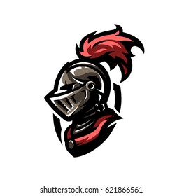 Medieval warrior knight in helmet. Logo, emblem, symbol.