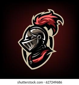 Medieval warrior knight in helmet. Logo, emblem, symbol.