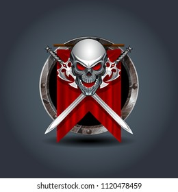 Medieval warrior skull with swords, rusty iron rounded badge icon. For Ui/Game.
