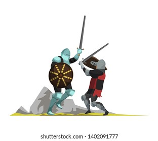 Medieval warriors fighting with swords flat vector illustration. Middle ages war scene. Armed warriors cartoon characters. Tournament, joust drawing. Ancient fighters isolated design element
