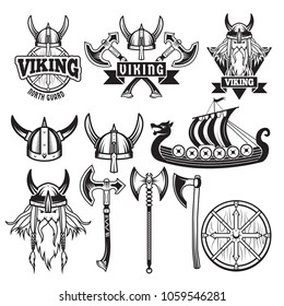Medieval warriors and his weapons. Labels with vikings. Set isolate on white. Vector warrior weapon, viking in helmet, sword and ax illustration