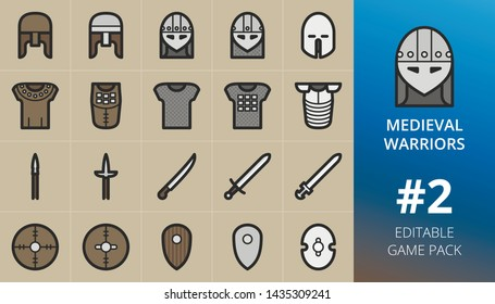 Medieval warriors weapons and armour game icons set. Set of medieval helmets, swords, scimitar, pike, spear, iron, leather and wooden shields, hauberk arms, armor, armour. Editable RPG game pack