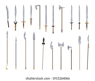 Medieval weapon collection. Ancient weaponry, war and heraldry concept. Spears swords and battle axes. World melee weaponry