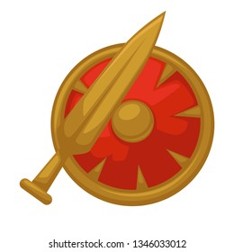 Medieval weapon sword and shield isolated knight armor vector warcraft blade and defense device king army military equipment heraldic symbol history attack and protection antique gold arms battle