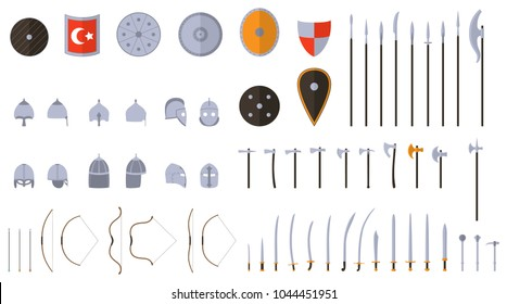 Medieval weapons and armors set. Medieval warrior equipment. Sword, sabre, dagger, axe, male, spear, pike bow arrows helmet shield Vector illustration