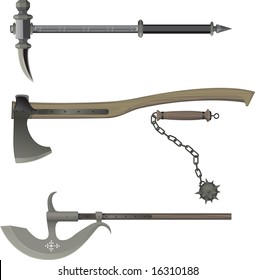 medieval weapons. Battle hammer, Axe, Bludgeon, halberd.