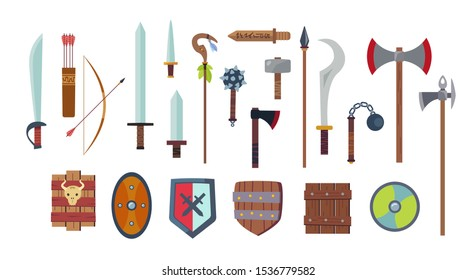 Medieval weapons concept set in a cartoon style. Antique swords, axes, spear, knife, dagger, bow, staff, mace, shields. Arms isolated on white background. Vector flat design elements.