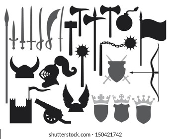 medieval weapons icons (tower, knight helmet, ancient cannon, swords, katana, old bomb, battle ax, hammer, flag, crown, coat of arms, shield, saber, flail)