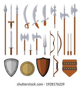 Medieval weapons set design elements isolated on white background vector flat illustration