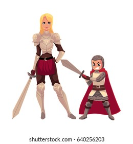 Medieval woman knight in metal suit and her armor bearer, squire, cartoon vector illustration isolated on white background. Full length portrait of medieval heavy armored knight girl and armor bearer