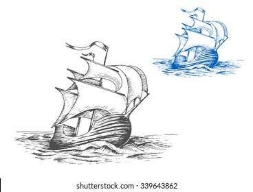 Medieval wooden tall ship under full sails doing turning maneuver in the stormy ocean, for marine adventure or travel design. Sketch style