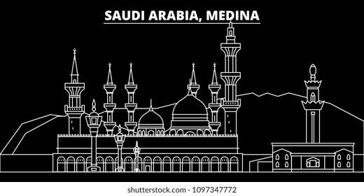Medina silhouette skyline. Saudi Arabia - Medina vector city, saudi arabian linear architecture. Medina travel illustration, outline landmarks. Saudi Arabia flat icon, saudi arabian line banner