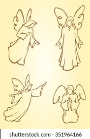 Meditating Angels-Variation of hand drawn angel set