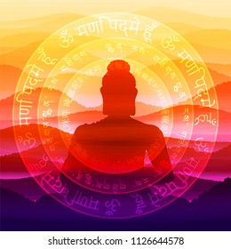 The meditating Buddha against the background of the mantra is Om mani padme hum, performed in Sanskrit, Tibetan and Chinese languages.