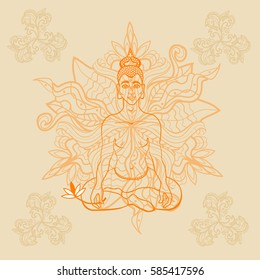 Meditating Buddha in the lotus position. Opened Anahata Chakra. Decorative ornament.  Indian motifs. Mandala. Buddhism. Vector picture.