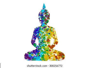 Meditating Buddha posture in rainbow colors silhouette
