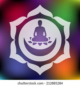 Meditating Buddha silhouette inside lotus chakra over blurred abstract background vector illustration