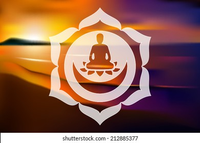 Meditating Buddha silhouette inside lotus chakra over blurred natural background vector illustration
