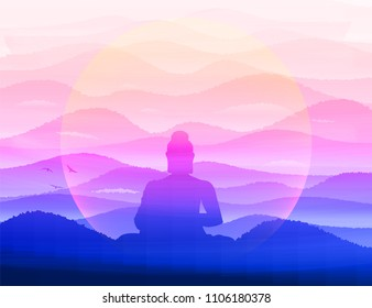 Meditating Buddha Sits in silence in the background of the hills in the morning haze. Zen, pacification, complete quiet.