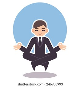 meditating business man in suit
