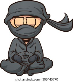 Meditating cartoon ninja. Vector clip art illustration with simple gradients. Ninja and mask's clothes are on separate layers.