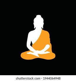 Meditating Gautam Buddha Minimal Vector