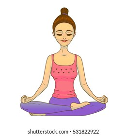 Meditating Girl. Relaxing Woman in Hand Drawn Style for Prints Posters Yoga Fliers Banners Advertising. Vector Illustration