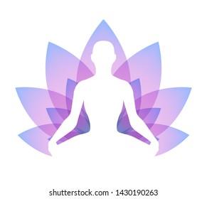 Meditating human in lotus pose silhouette. Yoga illustration. Sacral lotus flower background.