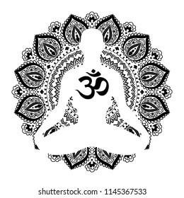 Meditating human in lotus pose. Yoga illustration. Mandala and om mantra background.