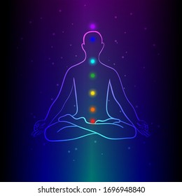 Meditating human silhouette with chakra signs. Practicing meditation. Yoga lotus pose, asana padmasana. Vector illustration.