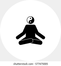 Meditating Man in Lotus Position Icon