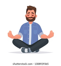 Meditating man over isolated background. Keep calm. Vector illustration in cartoon style