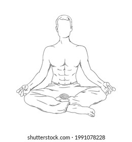 Meditating man in siddhasana. Yoga meditation for body relax and spirit harmony. Vector illustration isolated on white background