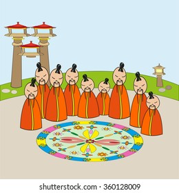 Meditating monks at Mandala. Perfect vector illustration for books, posters, printing on fabric.