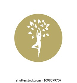 meditating person become tree, personal grow,  healing, connection with earth, gold logo icon